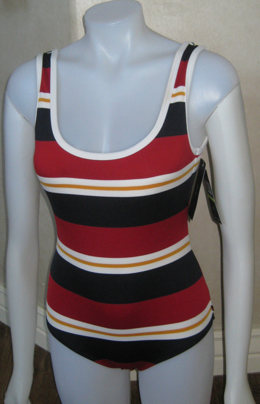 Primary image for TOMMY HILFIGER U NECK MAILLOT ONE PIECE SWIMSUIT SZ 6 MOD RED STRIPED $108 NWT