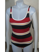 TOMMY HILFIGER U NECK MAILLOT ONE PIECE SWIMSUIT SZ 6 MOD RED STRIPED $1... - $37.36