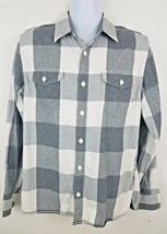 VANS Mens Flannel Shirt Sz M Plaid Button Up Long Sleeve Black White Checks - $19.34