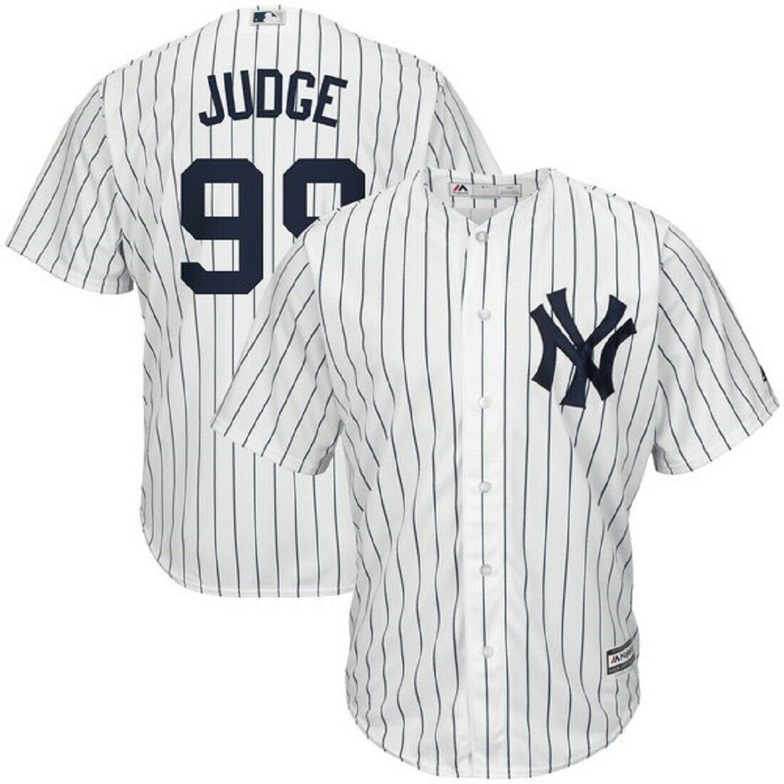 Aaron Judge New York Yankees Majestic Home Pinstripe Cool Base Jersey Mens Large