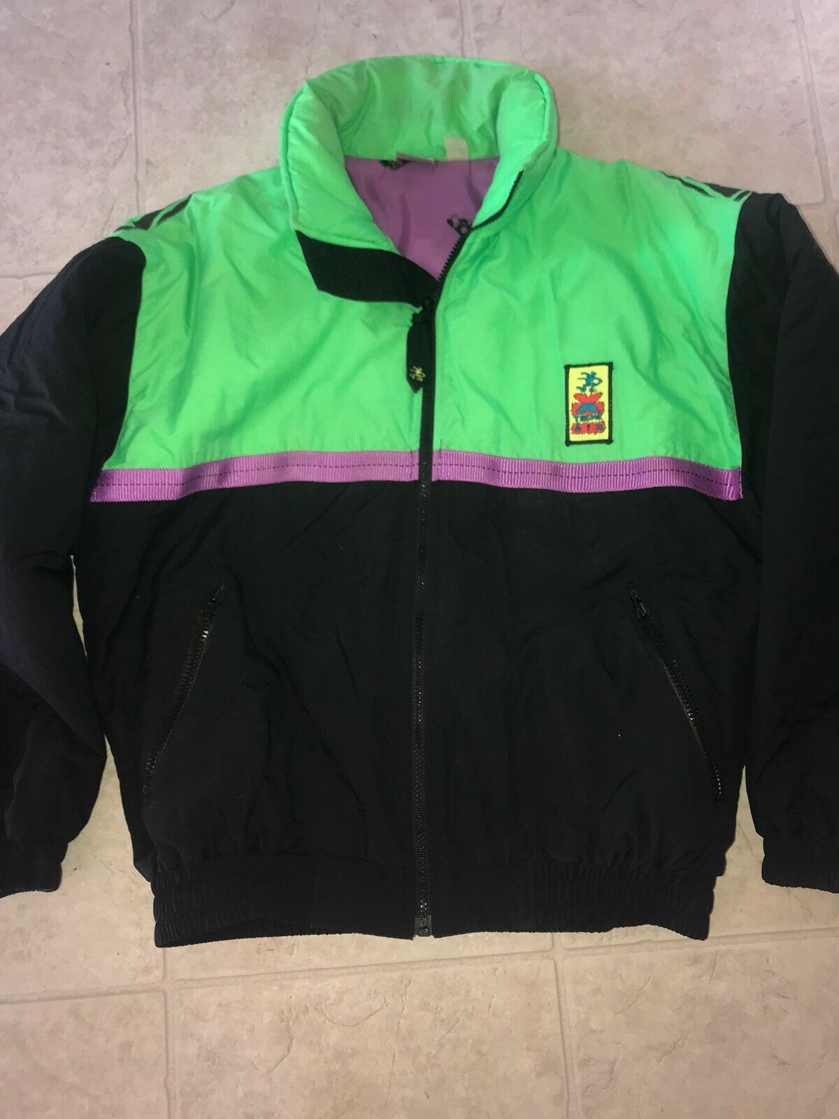 Primary image for Ocean Pacific ~ Vtg Mens Black Neon Green Coat Jacket Xtreme Air 1980's 1990's S