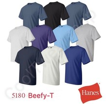 Hanes Beefy-T Cotton Plain Crew Neck Short Sleeves Adult T-Shirt 5180 S~XL - $7.95
