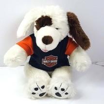 Build A Bear White Plush Dog Spotted With Harley Davidson Shirt Stuffed  - $16.83