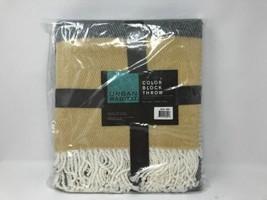 Urban Habitat Stripe Yellow Block Throw Fringe 50x60 NEW - $463,72 MXN