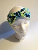 Women's Multi-Color Hand Crocheted Headband Ear Warmer blue green colors - $14.99