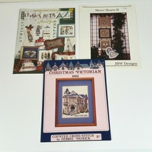 3 Christmas Cross Stitch Patterns Booklets Angels Victorian Merry Hearts - $12.59