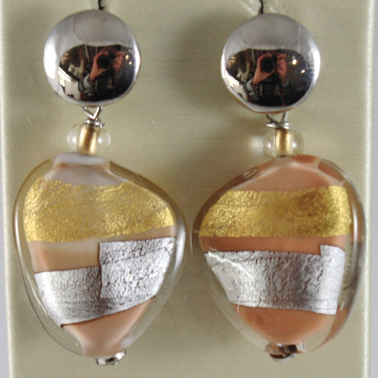 ANTICA MURRINA VENEZIA STRIPED PENDANT EARRINGS SAND, SILVER AND GOLD FLAT DROPS