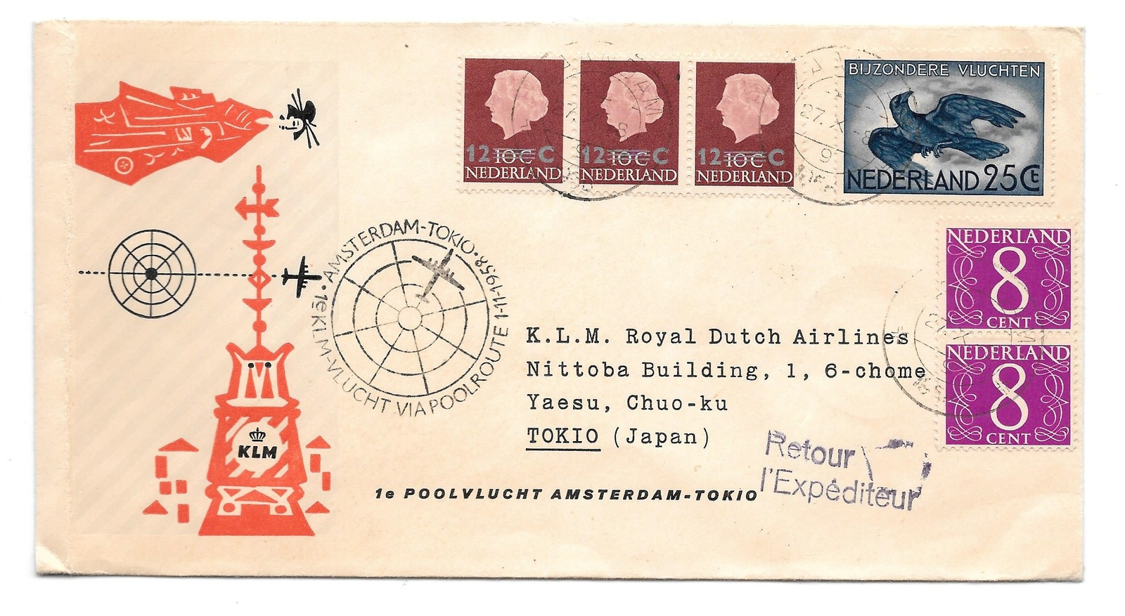 Primary image for Netherlands KLM First Polar Flight Amsterdam Tokio 1958 Poolvlucht 374 343a C12