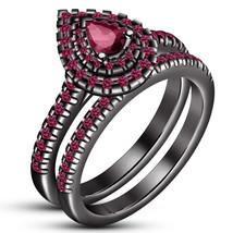 Pear Cut Pink Sapphire Womens Halo Bridal Ring Set 14k Black Gold Fn 925 Silver - $94.99