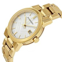 New Burberry Unisex Silver Dial Gold Ion-Plated Watch 34MM BU9103 Swiss - $336.18 CAD