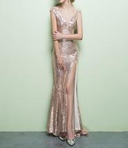 ROSE GOLD Sequin Maxi Dress Mermaid Slit Maxi Sequin Dress Plus Size Sequin Gown image 6