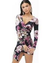 NWT Forever 21 Floral Velvet Mock Wrap Dress Size Small - $26.72