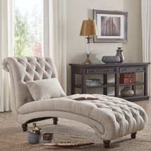 Living Room Lounge Chair Beige Linen Button Tufted Sofa Bedroom Chaise R... - $592.59