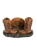 Western Cowboy Hat Boots Spurs Rope Resin Desk Top Business Card Holder - $18.81