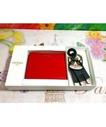 NWT FOSSIL Women's Tessa Gift Box Red Bifold Leather Wallet KeyFob Charm... - $56.09