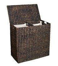 BirdRock Home Double Laundry Hamper with Lid and Divided Interior Espres... - $124.32