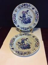 "Copeland Spode New Stone England Bowpot Blue Multicolor 8"" Salad Plate Lot Of 2 - $18.00"