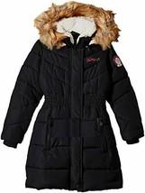 Weatherproof Girls' Little Hooded Bubble Jacket, Black, 4