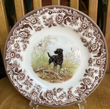 Spode Woodland Black Labrador Hunting Dog England Salad Plate NWT - $22.77