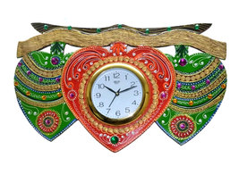 Handmade Hand painted Wooden Wall hanging Clock green leaf big - €63,77 EUR