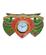 Handmade Hand painted Wooden Wall hanging Clock green leaf big - $68.99