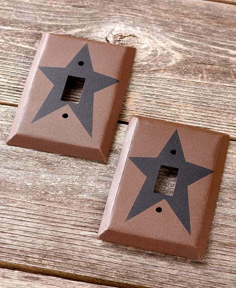 Single Light Switch Plates Primitive Country Star Hardware Home Decor Set of 2 - $15.83