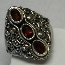 Genuine 2ct Fire Garnet 925 Solid Sterling Silver Filigree Designer Ring... - $39.59