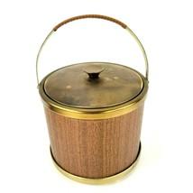 Vintage Ice Bucket Mid Century Modern Faux Wood Grain Patina Retro Desig... - $37.39