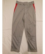 Rawlings Adult Baseball Pants  Size L Silver gray w/Red Inserts  W 36 In... - $10.39
