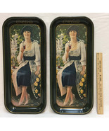 Coca Cola Trays Woman Lady Drinking a Coke from a Glass Metal Tin 1973 M... - $12.22