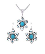 Tibetan Silver Flower Turquoise Crystals Necklace and Earrings Set - $20.00