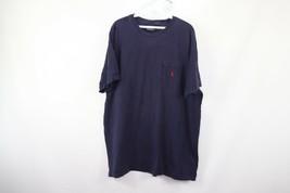 Vintage 90s Polo Ralph Lauren Mens XL Short Sleeve Pocket T-Shirt Navy Blue - $24.70