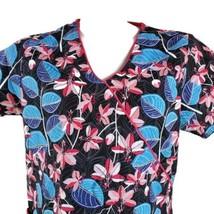 Dickies Black Pink Blue Floral Leaves Small Scrub Top - $15.83