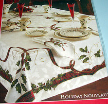 "Lenox HOLIDAY NOUVEAU Tablecloth 60x120"" Oblong Holly Tartan Gold Bow Damask New - $69.90"