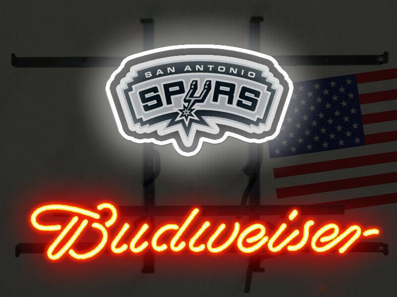 "Budweiser San Antonio Spurs Neon Sign 14""x10"" Beer Bar Light Artwork Gift"