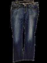 BKE Sabrina JEANS STRAIGHT BOOT DISTRESSED BLUE DENIM SIZE 31R x 33.5 - $25.78