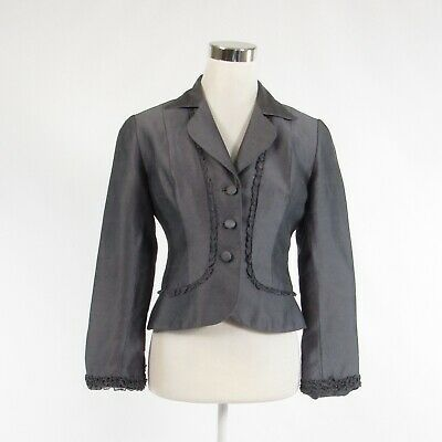 Primary image for Gray 100% silk KAY UNGER long sleeve blazer jacket 4