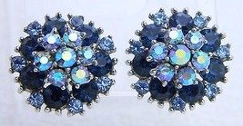 VTG CROWN TRIFARI Silver Tone Blue Rhinestone Flower Clip Earrings (B) - $74.25