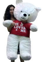 American Made Giant White Teddy Bear New 54 inch Soft Wears T-shirt HE L... - $147.11