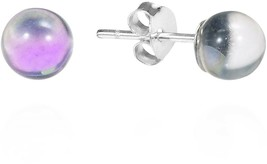 6 Mm Light Purple Fashion Crystal Round .925 Sterling Silver Post Earrings - $35.14
