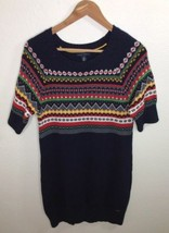 Tommy Hilfiger Navy Blue Nordic Sweater Dress 3/4 Sleeves Womens Size Large - $27.10