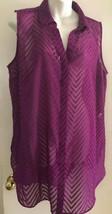 Dana Buchman Womens Shirt XLarge Purple Sleeveless Button Chevron Sheer - $15.81