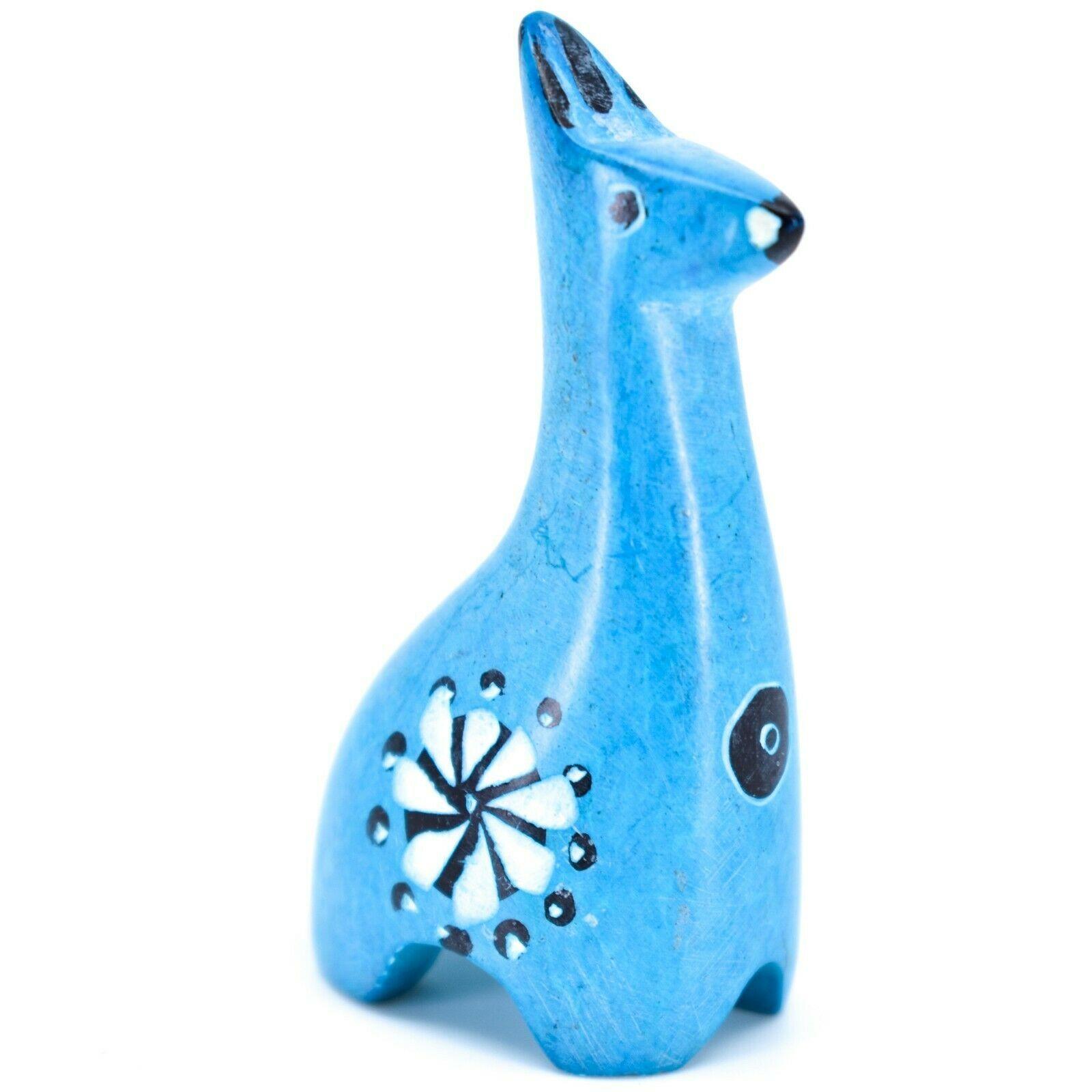 Tabaka Chigware Hand Carved Kisii Soapstone Miniature Sky Blue Giraffe Figurine