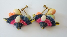 Vintage Spun cotton Lacquered Fruit Earrings Woven Fruit Basket Drop  40s - $19.79