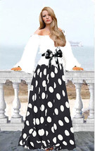 Women's Off The Shoulder Top Chiffon Maxi Skirt Polka Dot Skirt XS-L - $160.00