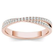 IGI Certified 10k Rose Gold 0.23 Ct Diamond Cross-Over Wedding Ring - $319.99
