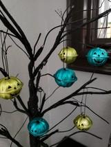 Halloween Pumpkin Turquoise Green Mini Bell Tree Ornaments Decorations S... - $9.99