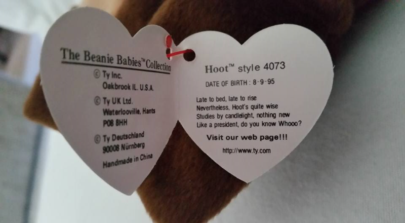 TY Beanie Babies Hoot Owl NO STAR ON TUSH TAG, PVC PELLETS Style # RARE ERRORS R