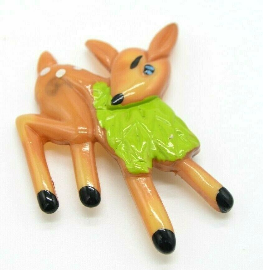 Vintage Plastic Eating Deer Brown Green Pin Brooch