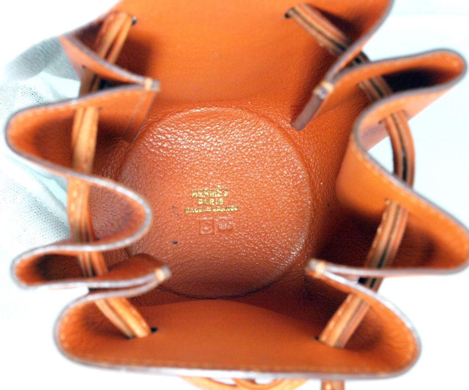 Authentic HERMES Paris Orange Leather Tiny Cosmetic Pouch Wristlet Purse France image 11